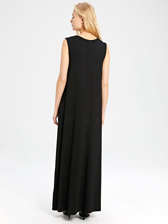 LC Waikiki Siyah Düz Uzun Viskon Elbise