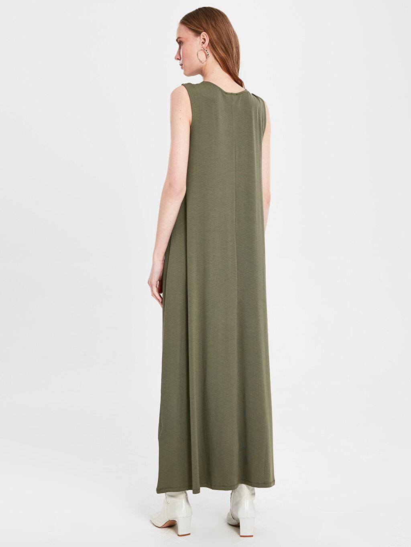 Kadın Düz Uzun Viskon Elbise