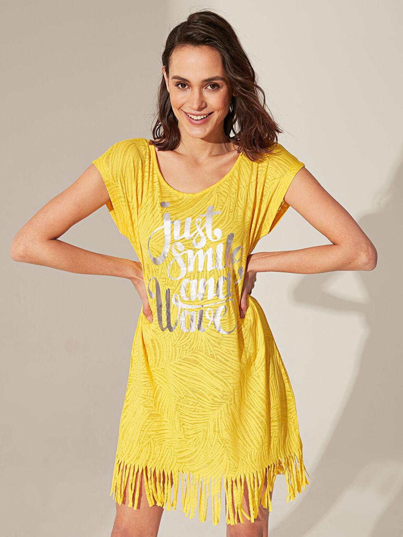 Sarı Püsküllü Yazı Baskılı Plaj Elbise 0S2841Z8 LC Waikiki