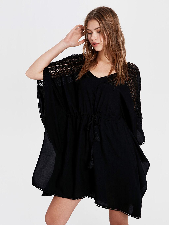 Siyah Dantel Salaş Elbise 0S2842Z8 LC Waikiki