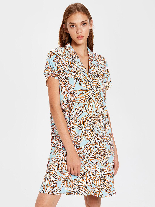 %100 Viskoz Vual Elbise Baskılı Desenli Viskon Gömlek Elbise