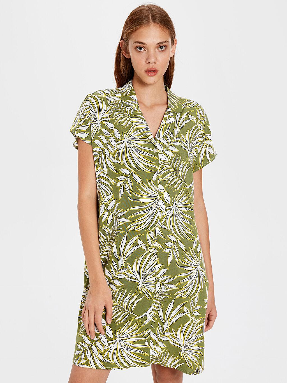 Yeşil Desenli Viskon Gömlek Elbise 0S4010Z8 LC Waikiki
