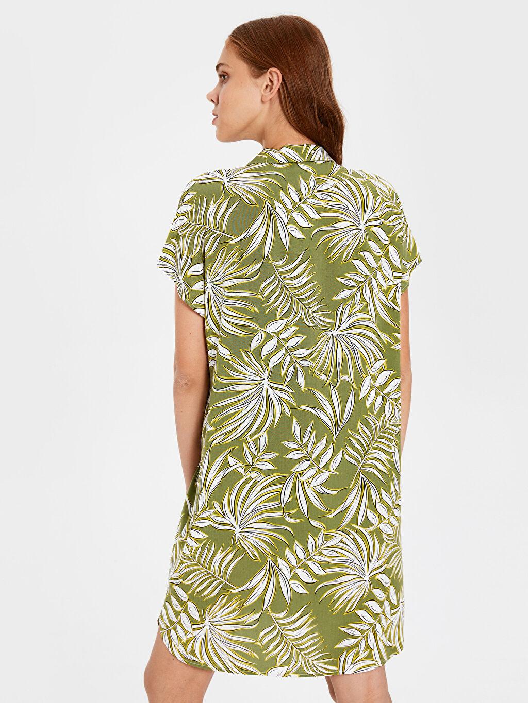 Kadın Desenli Viskon Gömlek Elbise