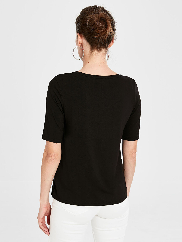 Kadın Düz Basic Viskon Tişört