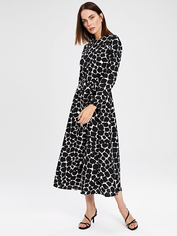 %100 Polyester Uzun Baskılı Uzun Kol Ofis/Klasik Desenli Kuşaklı Krep Elbise