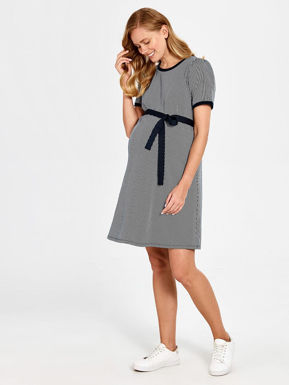 Kadın Kuşaklı Çizgili Hamile Elbise
