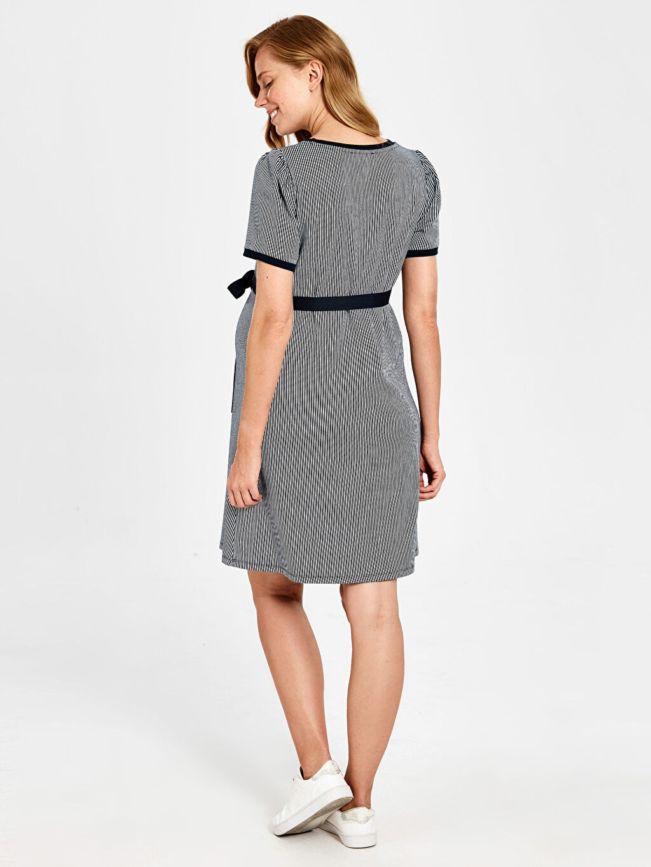 Lacivert Kuşaklı Çizgili Hamile Elbise
