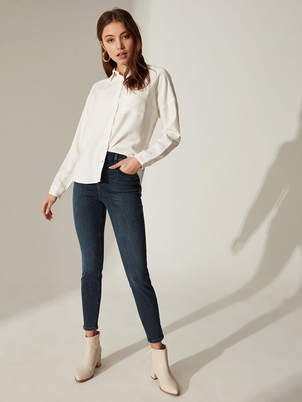 %90 Pamuk %9 Polyester %1 Elastan Yüksek Bel Esnek Dar Jean Super Skinny Jean Pantolon