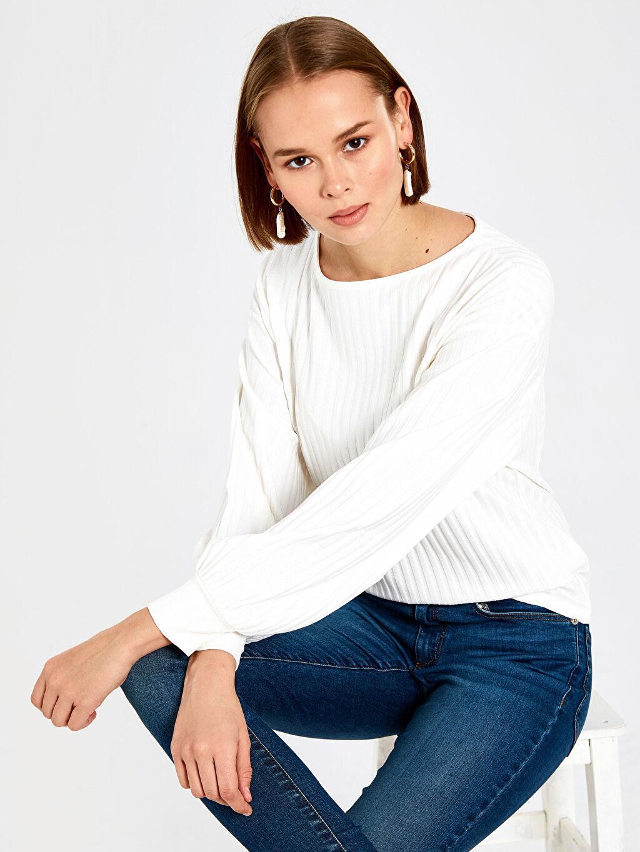 %75 Polyester %23 Viskoz %2 Elastan Diğer Standart Tişört Uzun Kol Düz Bluzan Standart Ribana Esnek Balon Kol Tişört