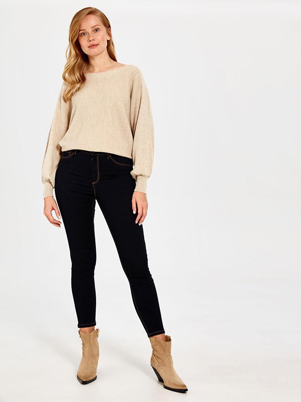 %67 Pamuk %31 Polyester %2 Elastan Yüksek Bel Dar Esnek Jean Bilek Boy Süper Slim Pantolon