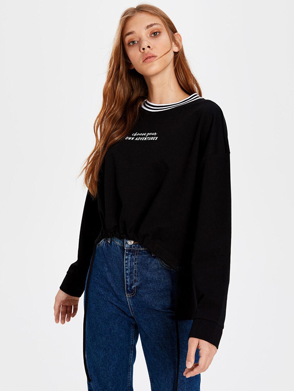 %52 Pamuk %48 Polyester  Slogan Baskılı Sweatshirt