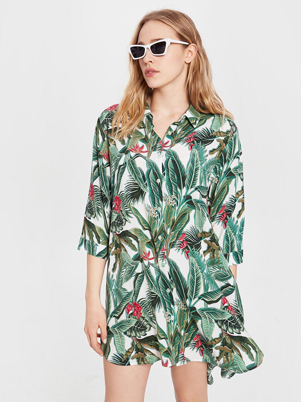 Yeşil Salaş Viskon Elbise 0S9112Z8 LC Waikiki