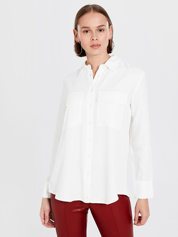 Beyaz Düz Viskon Gömlek 0S9196Z8 LC Waikiki