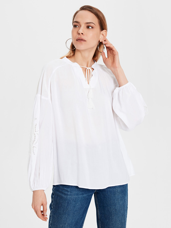 %100 Viskoz Bol Vual Bluz Uzun Kol Düz Standart Diğer Bluzan Bluz