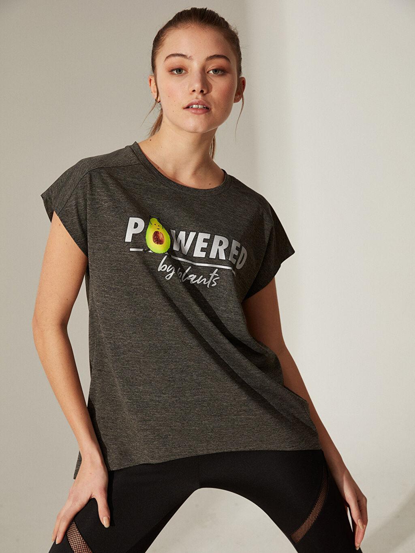Haki Slogan Baskılı Spor Tişört 0S9387Z8 LC Waikiki