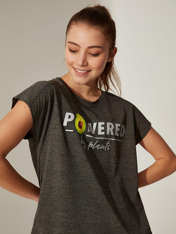 Haki Slogan Baskılı Spor Tişört