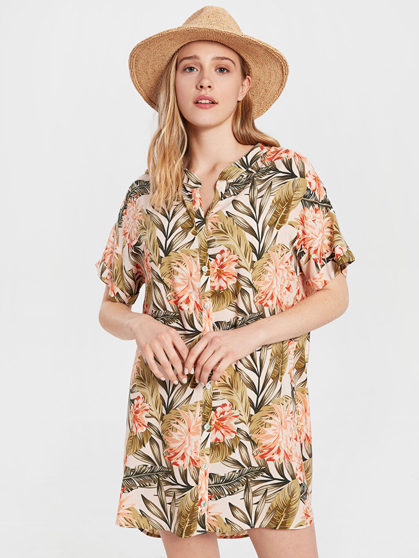 Yeşil Çiçek Desenli Viskon Elbise 0SG638Z8 LC Waikiki
