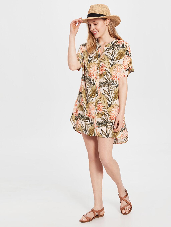 %100 Viskoz Vual Elbise Baskılı Çiçek Desenli Viskon Elbise