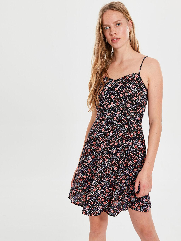 Turuncu Askılı Desenli Viskon Elbise 0SG644Z8 LC Waikiki