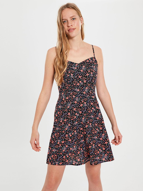 %100 Viskon Mini Çiçekli Askılı Casual Askılı Desenli Viskon Elbise