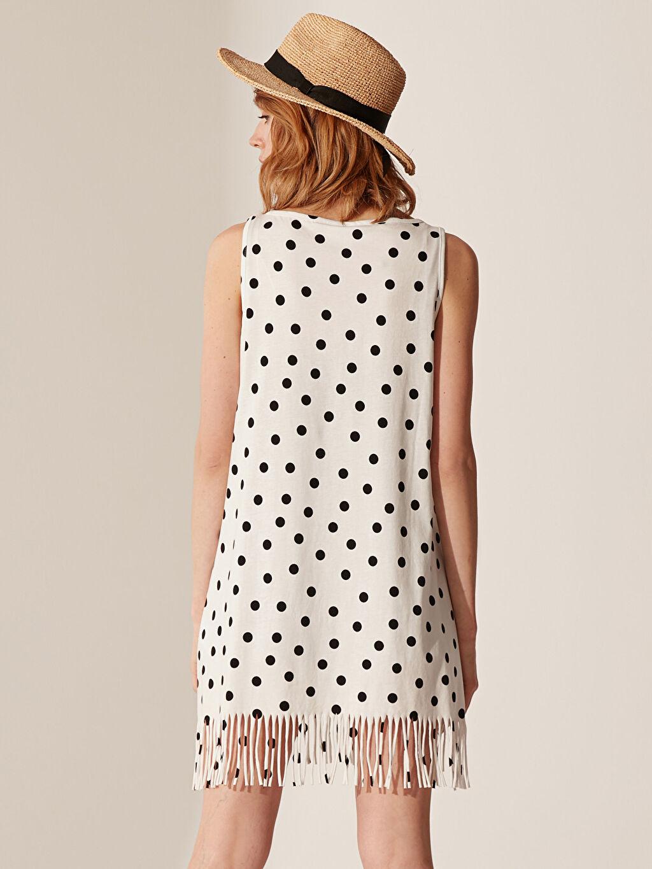 %100 Pamuk Puantiyeli Baskılı Elbise