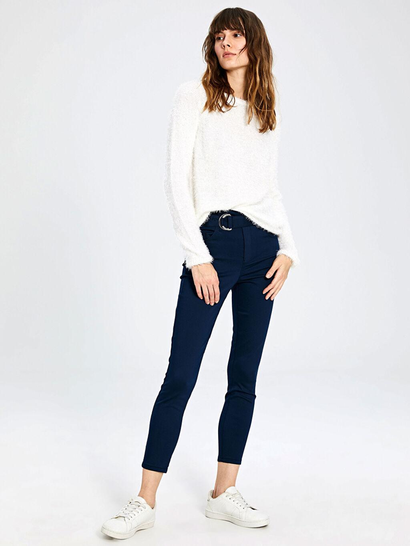 %67 Pamuk %29 Polyester %4 Elastan Pantolon Düz Dar Paça Gabardin Bilek Boy Standart Normal Bel Kemerli Skinny Pantolon