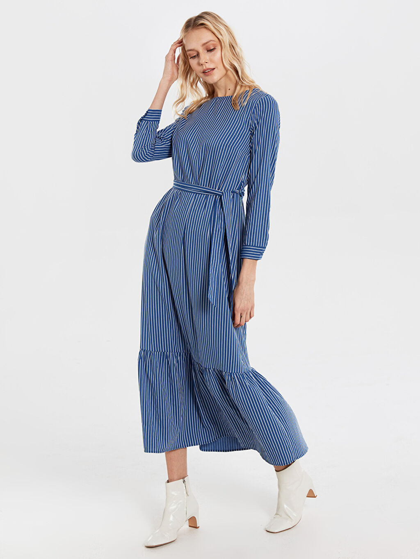 Mavi Kuşaklı Çizgili Elbise 0SH448Z8 LC Waikiki