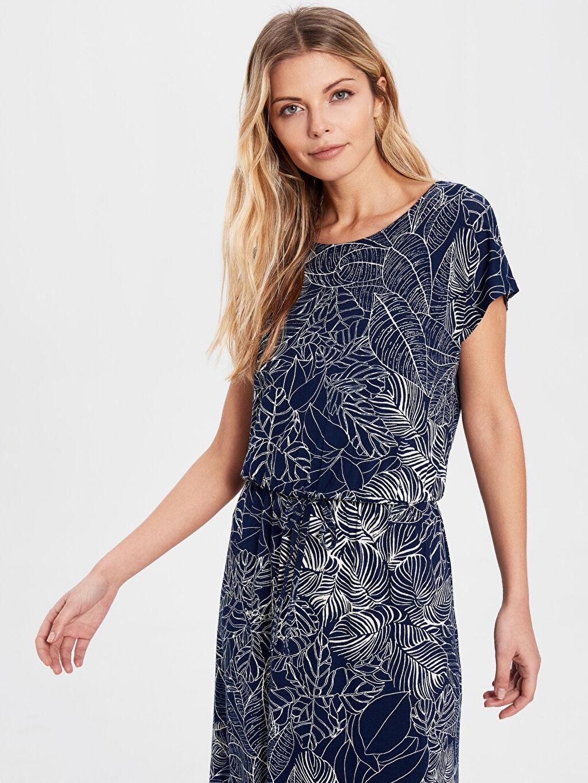 %97 Viskon %3 Elastan Kısa Kol Süprem Elbise Ofis/Klasik Standart Beli Lastikli Baskılı Astarsız Uzun Bağlama Detaylı Desenli Viskon Elbise