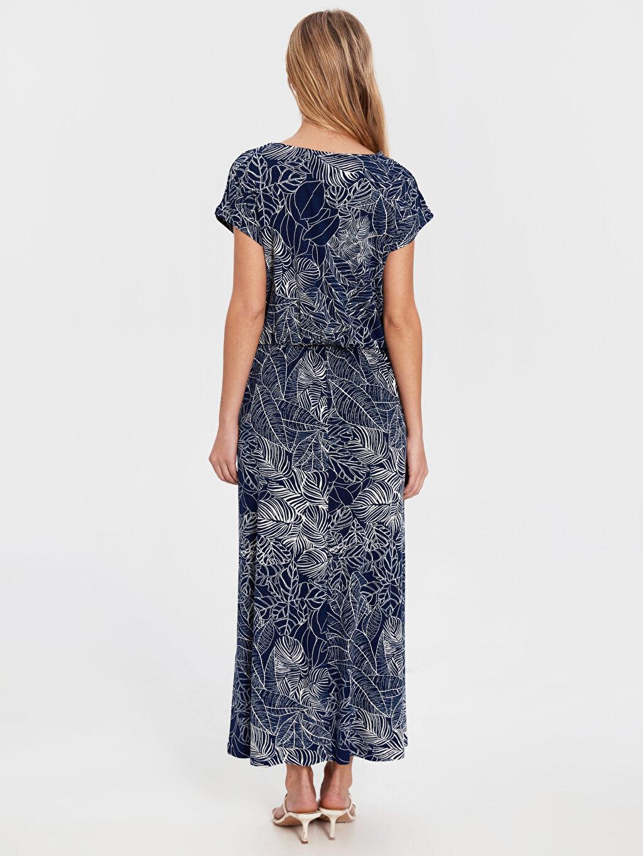 Kadın Bağlama Detaylı Desenli Viskon Elbise
