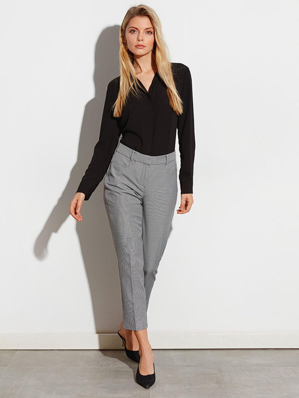 %92 Polyester %8 Elastan Normal Bel Cigarette Kısa Paça Kumaş Pantolon Bilek Boy Cigarette Kumaş Pantolon