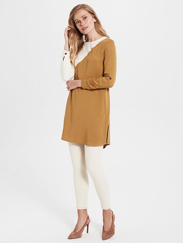 Kadın Renk Bloklu Viskon Tunik