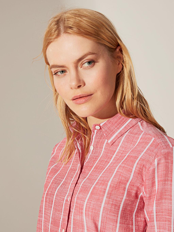 Kadın Çizgili Pamuklu Dokulu Gömlek