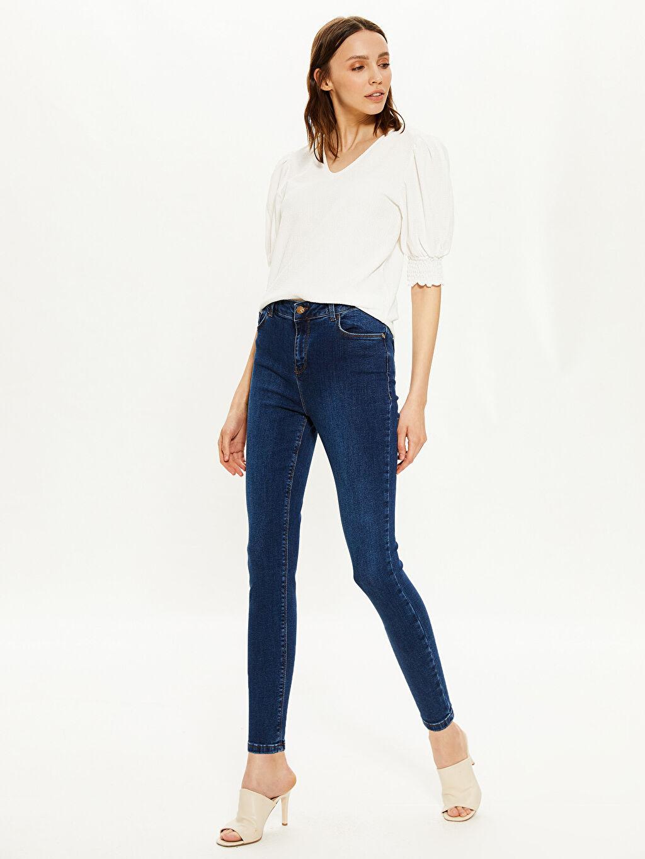 Lacivert Yüksek Bel Skinny Jean Pantolon 0SJ222Z8 LC Waikiki
