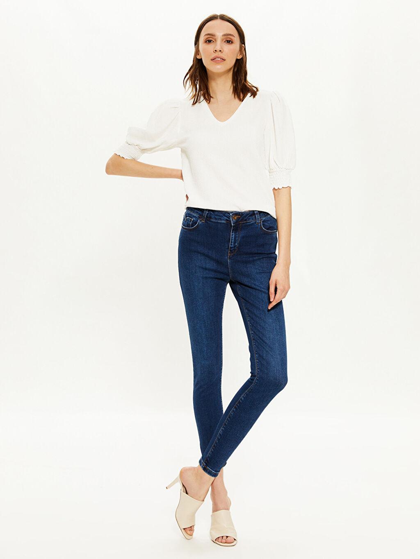 %98 Pamuk %2 Elastan Dar Jean Yüksek Bel Esnek Yüksek Bel Skinny Jean Pantolon