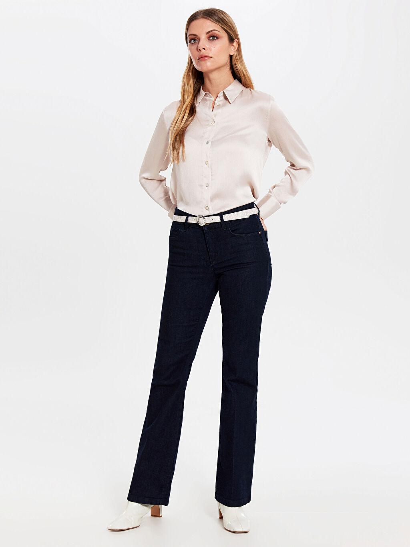 Kadın Düz Saten Gömlek