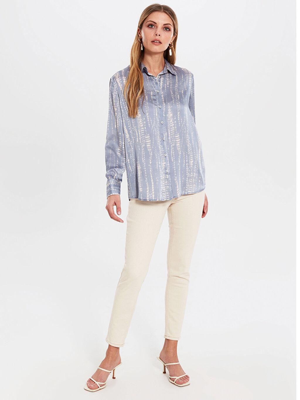 %100 Polyester Gömlek Gömlek Standart Gömlek Yaka Uzun Kol Düz Standart Diğer Desenli Dokulu Kumaştan Gömlek