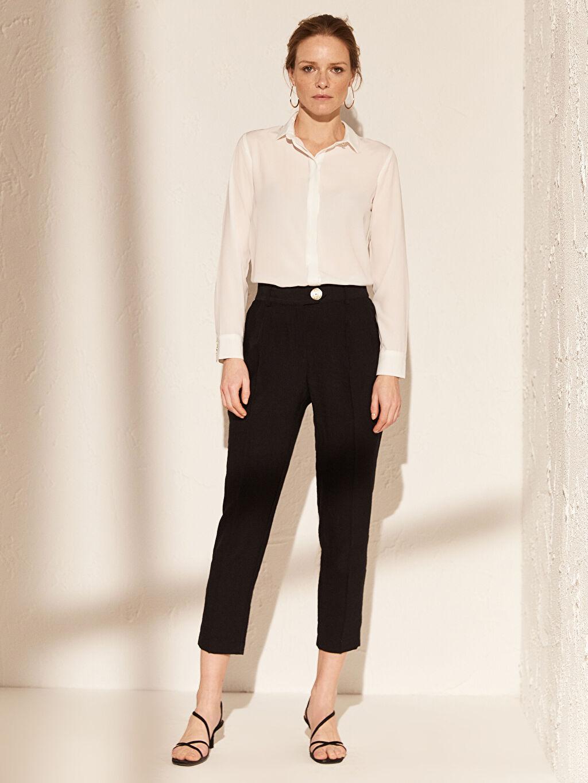 %13 Polyester %87 Viskoz Yüksek Bel Esnek Kısa Paça Kumaş Pantolon Standart Bilek Boy Cigarette Kumaş Pantolon