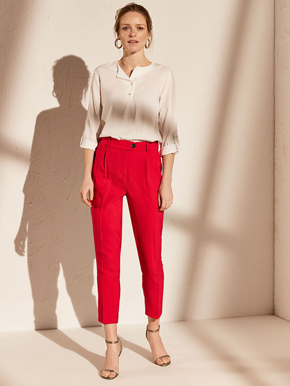 %13 Polyester %87 Viskoz Standart Yüksek Bel Esnek Kısa Paça Kumaş Pantolon Bilek Boy Cigarette Kumaş Pantolon