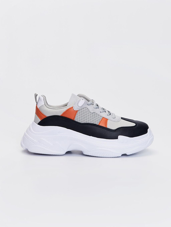 Beyaz Kadın Kalın Taban Renk Bloklu Günlük Spor Ayakkabı 0SJ394Z8 LC Waikiki