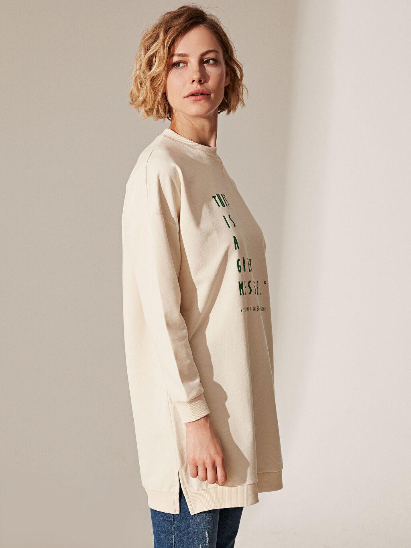 %49 Pamuk %51 Polyester  Slogan Baskılı Salaş Sweatshirt
