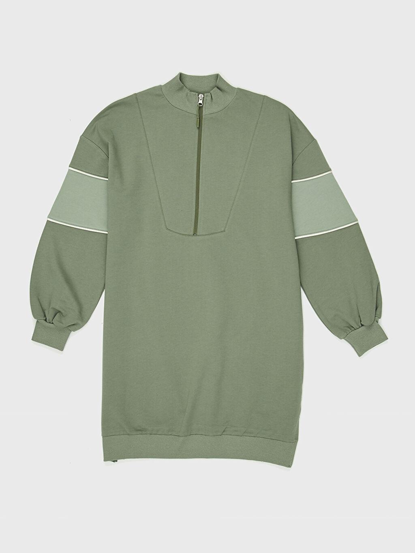 Haki Dik Yaka Oversize Sweatshirt