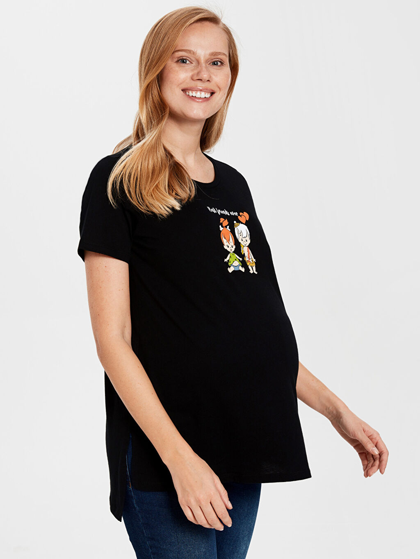Siyah Bam Bam ve Çakıl Baskılı Hamile Pamuklu Tişört 0SK015Z8 LC Waikiki