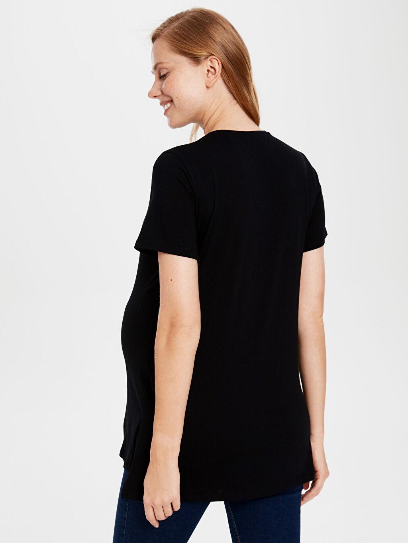%100 Pamuk Bam Bam ve Çakıl Baskılı Hamile Pamuklu Tişört