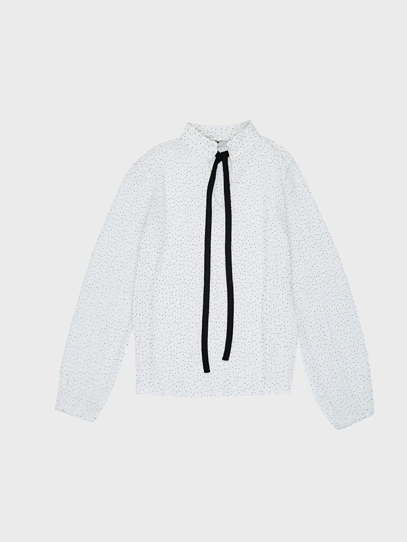 %100 Polyester Yakası Bağlama Detaylı Bluz