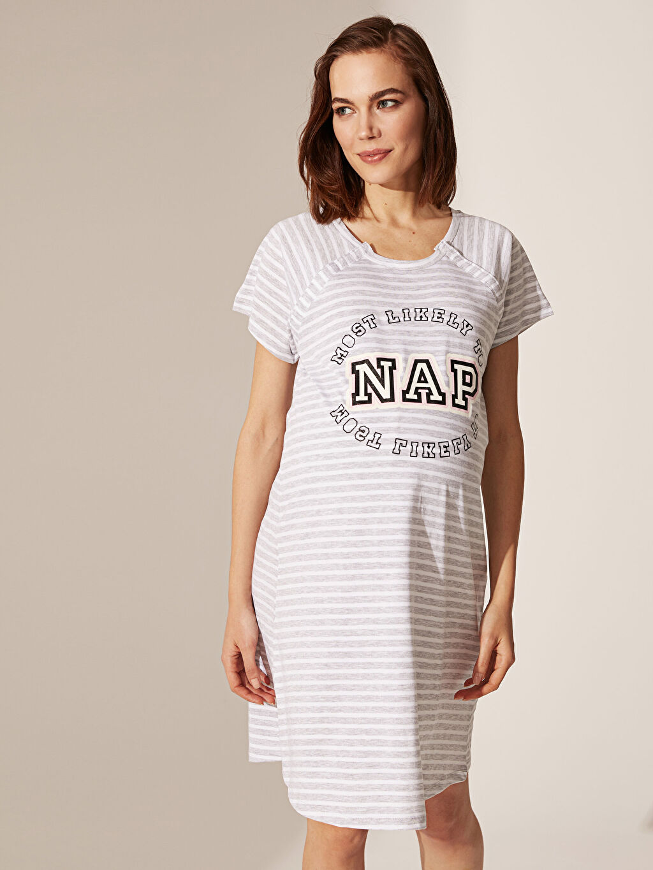 %65 Pamuk %35 Polyester İç Giyim Emzirme Özellikli Yazı Baskılı Hamile Gecelik