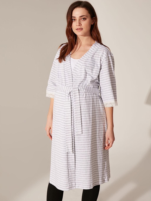 %65 Pamuk %35 Polyester İç Giyim Dantel Detaylı Kuşaklı Hamile Sabahlık