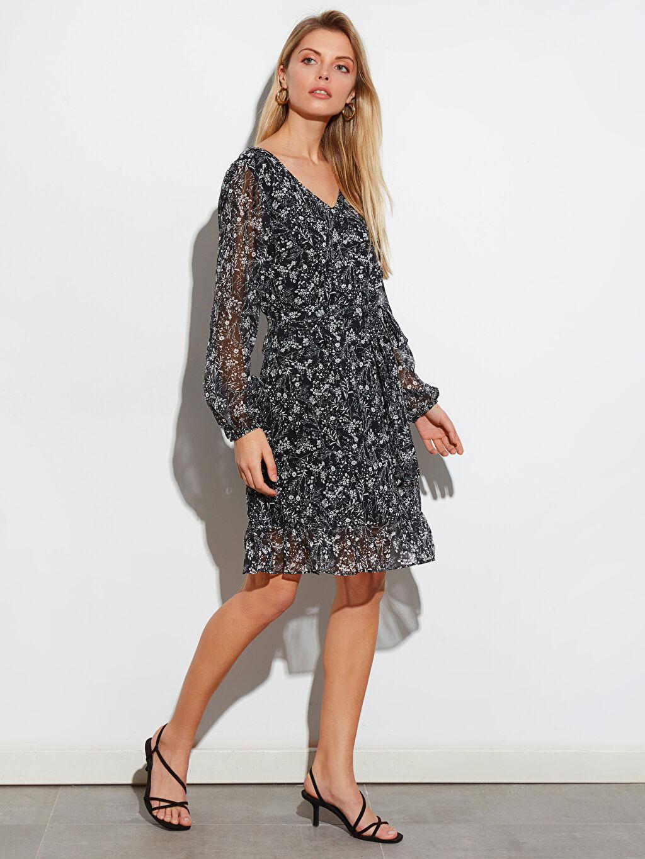 Siyah Diz Üstü Desenli Uzun Kollu Elbise 0SK616Z8 LC Waikiki
