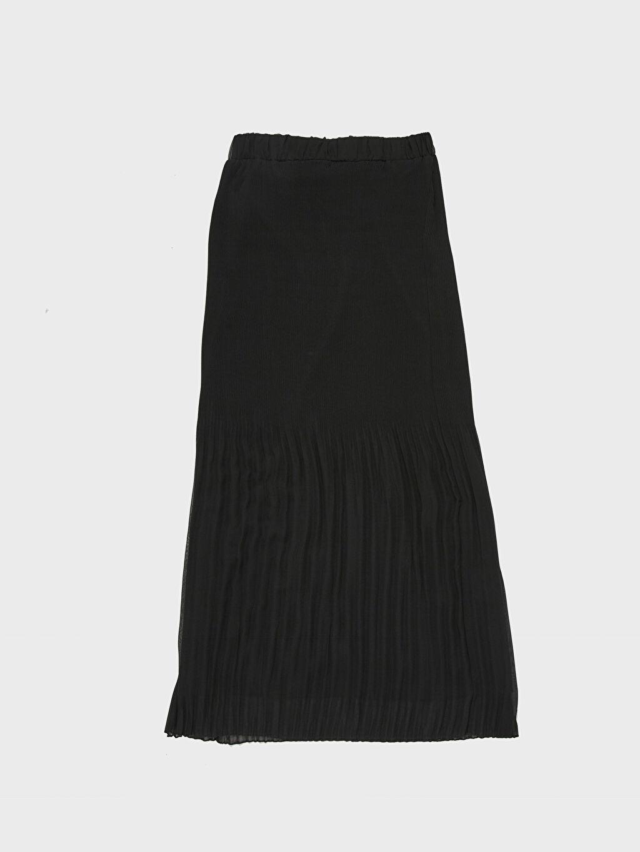 %100 Polyester Pileli Uzun Şifon Etek