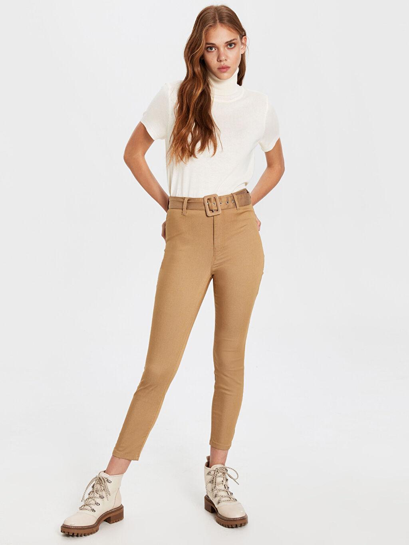 %65 Pamuk %31 Polyester %4 Elastan Yüksek Bel Standart Pantolon Düz Gabardin Bilek Boy Kemerli Skinny Pantolon
