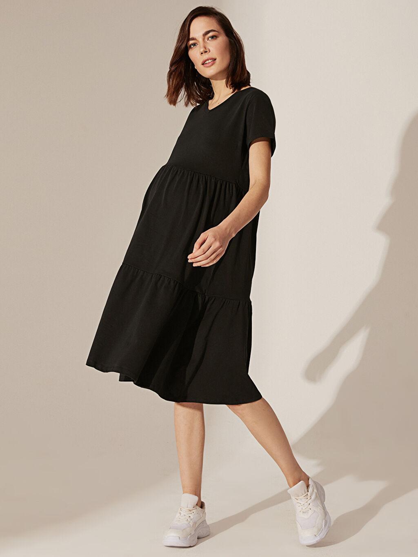 Siyah Hamile Pamuklu Elbise 0SL438Z8 LC Waikiki